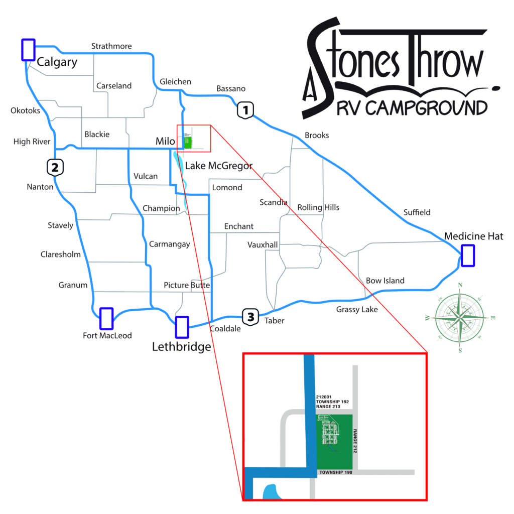 Map to A Stones Throw RV Campground